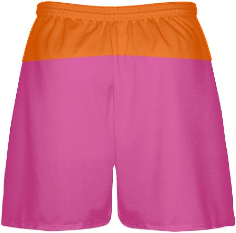 Youth Hot Pink Orange Athletic Shorts Boys Mens Lacrosse Shorts Youth Pink