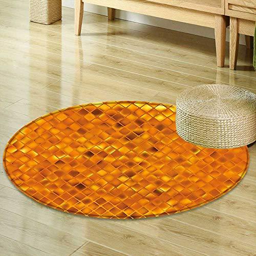 Anti-Skid Area Rug Modern Decor Golden Color Mosaic Geometric Design with Mirror Like Artwork Orange and Marigold Yellow Soft Area Rugs R-35