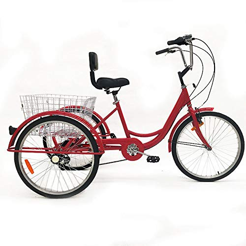 CLIENSY 24″ Adult Tricycle, Shimano 7-Speed 3 Wheel Bike Trike Cruise Bike w/Large Size Basket for Recreation, Shopping, Exercise (Red)