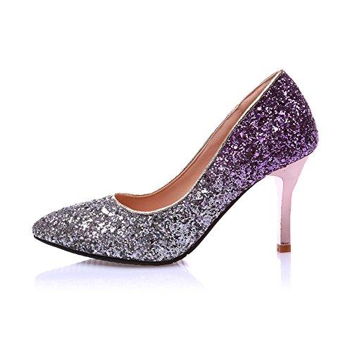 Mode Hälen Kvinna Sparkling Glitter Bling Spetsig Tå Stilett Kväll Pumpar Lila
