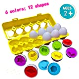 U-Nice Toddler Toys - Matching Eggs (12 Eggs) - Educational Color & Recognition Skills Study Toys, Learn Color & Shape Match Egg Set, 2 Years Up Kid Baby Toddler Boy Girl.