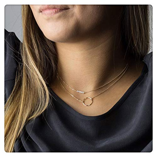 (SEAYII Women Pearl Choker Necklace Gold 2 Layered 5 Pearl Bar Karma Open Circle Double Side Hammered New Moon Pendant 14K Gold Fill Dainty Chain Boho Simple Delicate Handmade Gold Jewelry Gift)