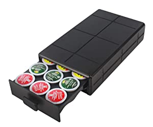EVERIE Coffee Pod Holder Drawer Compatible with K-Cup, 18 Pods, Black