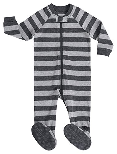 Cotton Footie Pajamas (MMII pajamas Little Boys Footed striped Pajamas Sleeper 100% Cotton Blanket Grey Size 6)