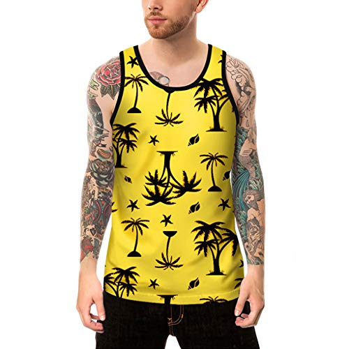 (vermers Mens Printed Tank Tops Fashion Personality Casual Slim Fit Sleeveless Tanks T Shirt Top Blouse(L, Yellow))