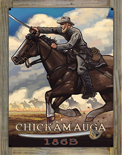 Chickamauga Geogia Civil War Horse Charge Metal Print on Reclaimed Barn Wood by Paul A. Lanquist (18