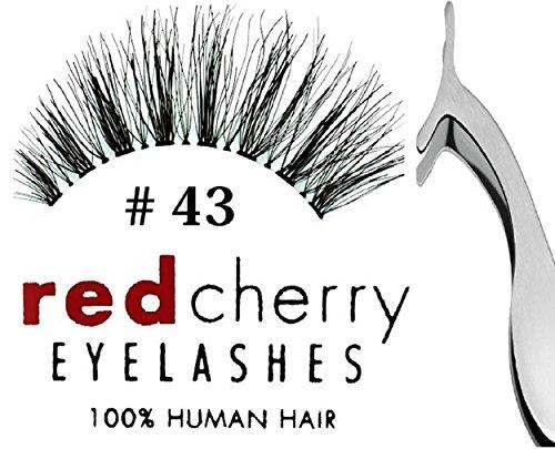Red Cherry- Falsche Wimpern 43 Echthaar + Pinzette