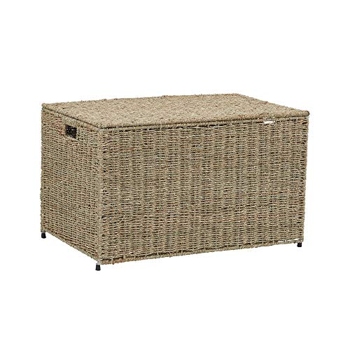 Household Essentials ML-5665 Decorative Wicker Chest with Lid for Storage and Organization | Large | Light Brown
