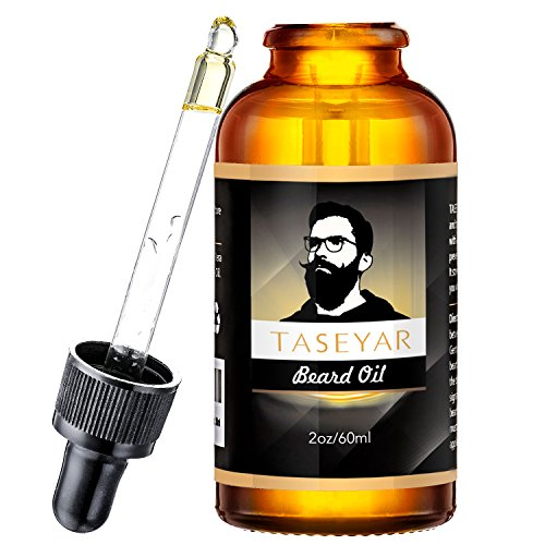 60ml Beard Oil, TASEYAR Fragrance Free Unscented Natural Beard Growing Oil Leave-in Beard Conditioner Natural Beard Care Oil Moutstache Oil for Beard Growth, Mustache, Face and Skin, 2oz, Gift for Him