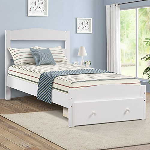 Merax Wood Platform Twin Bed Frame with Storage and Headboard, Wood Bed Support Slats with Drawer, White -