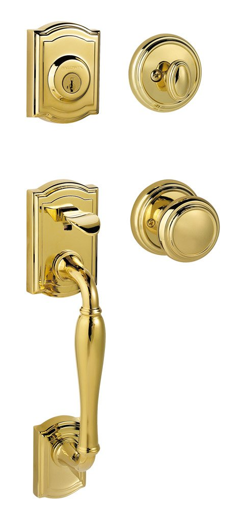 Baldwin Prestige Wesley Single Cylinder Handleset with Alcott Knob featuring SmartKey in Lifetime Polished Brass by Baldwin (Image #1)
