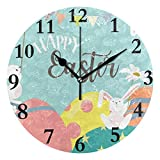 NMCEO Round Wall Clock Happy Easter Hello Welcome Spring Floral Flowers Cute Rabbit