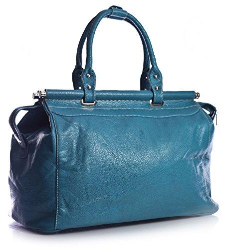 BBHBS Bolso de Mano para Dama en Imitación Piel ideal como Bolso de Viaje, Equipaje de Mano en Vuelos o Vacaciones. 56x62x4 cm (LxAxP) Verde Azulado Azul(NL574)