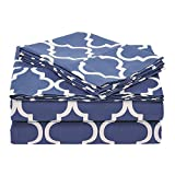 Superior 100% Cotton Trellis Geometric Bedding, 3 Piece Sheet Set, Soft and Breathable Cotton Sheets, 300 Thread Count with Deep Fitting Pockets - Twin XL, Navy Blue