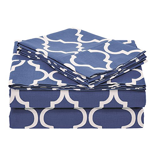 Superior 100% Cotton Trellis Geometric Bedding, 4 Piece Sheet Set, Soft and Breathable Cotton Sheets, 300 Thread Count with Deep Fitting Pockets - Queen, Navy Blue