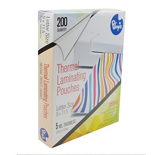 Pluqis Universal Thermal Laminating Pouches For Letter Size 8.5 x 11 Inch, Clear 5 Mil, 200 Sheets
