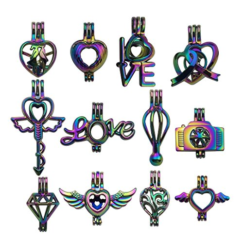 10pcs Mixed Shape Love Heart Wedding Colorful Rainbow Pearl Cage Bead Cages Pendants for Jewelry Making/Aromatherapy Essential Oil Scent Diffuser Locket Pendant m224 (Mixed No Duplicate)