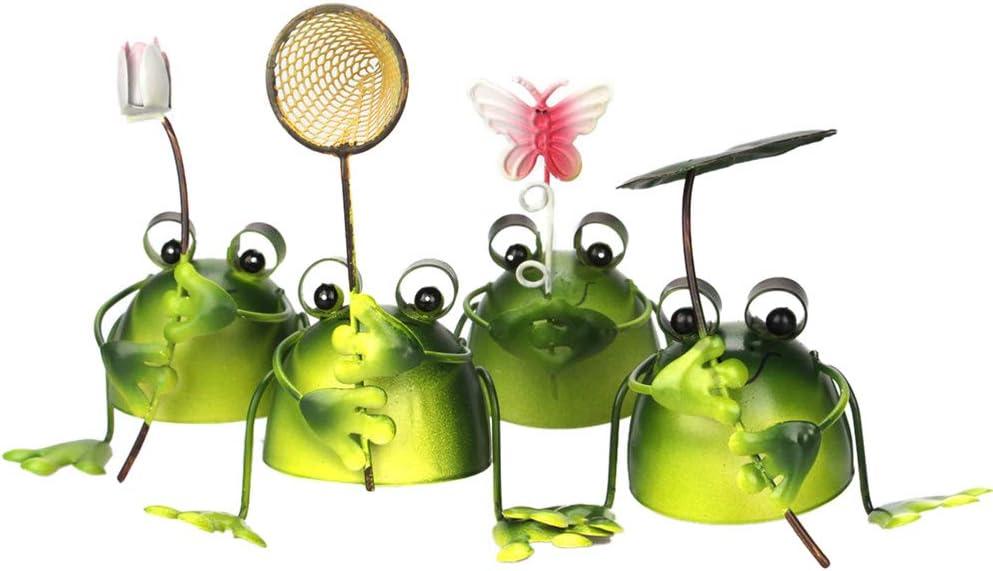 Vosarea 4pcs Rana de Hierro Ornamentos Creativo Micro Paisaje Ranas Figura Artesanía Animales artesanía decoración de jardín (Verde)