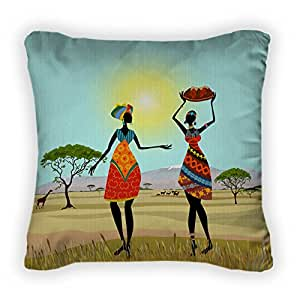 Gear New African Women In Mountain Landscape Throw Pillow, Poplin, 18x18, GN37125
