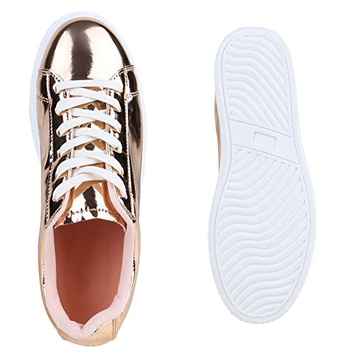 Stiefelparadies Plateau Sneakers Damen Sneaker Low Glitzer Metallic Schuhe Sportschuhe Strass Turnschuhe Lack Animal Print Camouflage Flandell Rose Gold