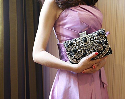 Bags Evening Rhinestones with Crystal Womens Clutch Flada Handbags Chain for ET6ZqpBB