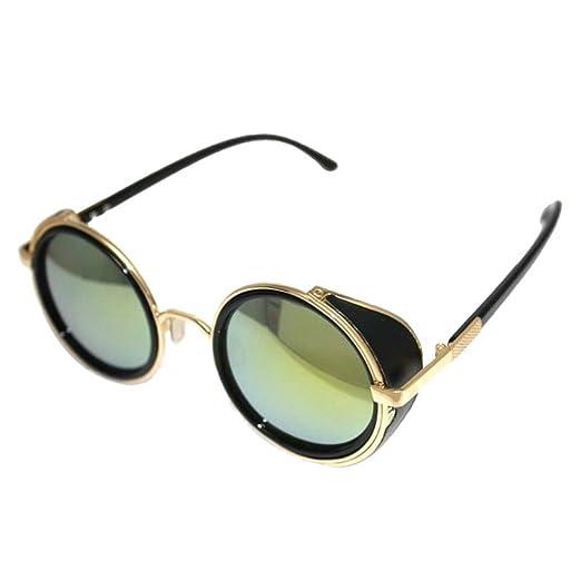 Culater® Retro lente a specchio tondo Occhiali Cyber Occhiali Steampunk occhiali da sole vintage (G) LCg0YrQo