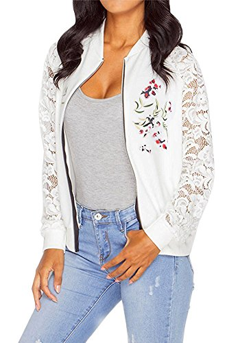 Mojessy Women's Summer Floral Prints Lace Patchwork Long Sleeve Biker Bomber Jacket Short Coat