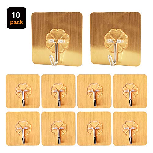 Self adhesive hooks, ZCgel Wall Hooks, Durable and Super Sticky, No Trace Removable and Reusable, Waterproof and Oilproof Utility Hooks for Home,Kitchen,Bathroom,10pack (Golden)