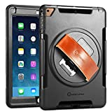 iPad Case - iPad Air Case - New Trent Gladius Air iPad Case for iPad Air iPad Air 2 and iPad 5 2017 360 Degree Rotatable [Rugged: Shock Proof] w Built-in Stand - Screen Protector and Leather Hand Strap