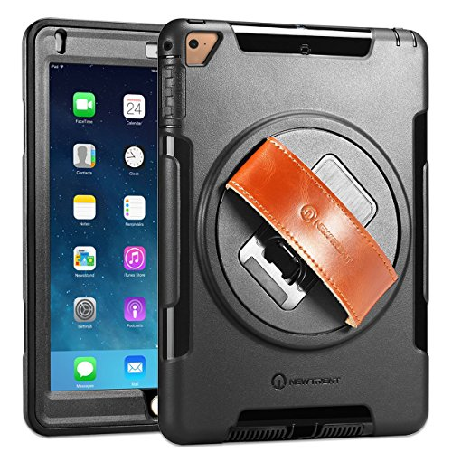 iPad Case, iPad Air Case, New Trent Gladius Air iPad Case for iPad Air iPad Air 2 and iPad 5 2017 360 Degree Rotatable [Rugged: Shock Proof] w/ Built-in Stand, Screen Protector and Leather Hand Strap