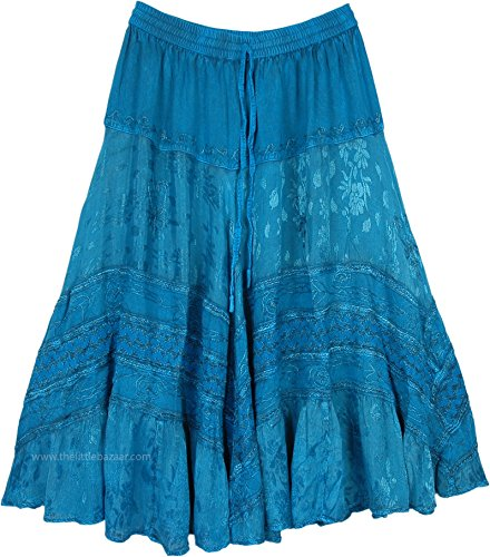 TLB - Urban Cowgirl Teal Western Style Irish Country Skirt - L:31