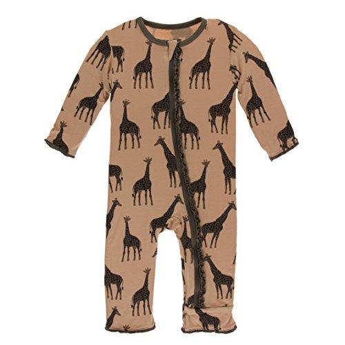 Kickee Pants Little Girls Print Muffin Ruffle Coverall with Zipper - Suede Giraffes, 6-9 Months ()