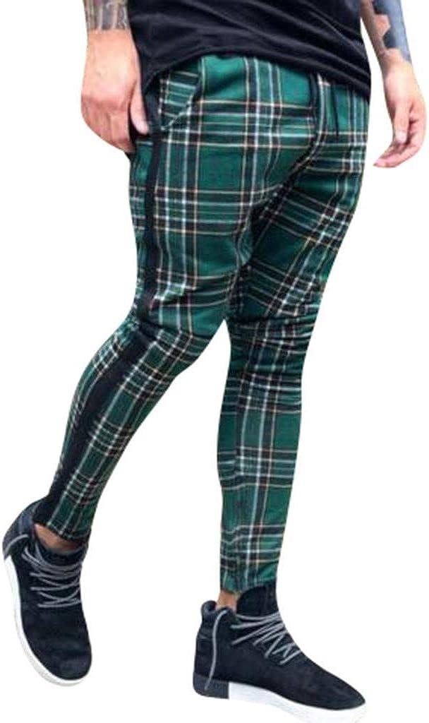 BHYDRY Pantalon de Sport d/écontract/é pour Hommes Pantalon /à Carreaux Coupe ajust/ée Pantalon de Jogging