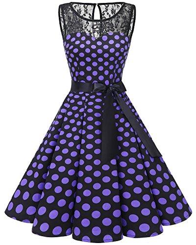 Bbonlinedress Women's 1950s Vintage Rockabilly Swing Dress Lace Cocktail Prom Party Dress Black Purple BDot M
