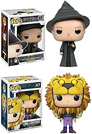 Funko POP! Harry Potter: Minerva McGonagall + Luna Lovegood (Lion Head) - Stylized Movie Vinyl Figure Set NEW