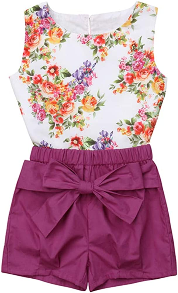 Toddler Baby Girl Matching Outfits Summer Clothes Floral Ruffle Button Romper Bodysuit Tank Tops+Bowknot Shorts Set