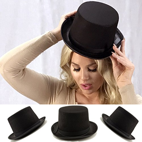 Top Accessory Hat (Adorox Sleek Felt Black Top Hat Fancy Costume Party Accessory (Black (1 Hat)))