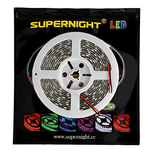 SUPERNIGHT 5050 Warm White Waterproof LED Light Strip for Garden House Door Windows Car Motocycle Decoration 5m 300leds Cuttable Flexible LED Strip by SUPERNIGHT