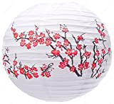 M.V. Trading MVA16029 Colorful Chinese/Japanese Round Paper Lanterns with Metal Frame, 16-Inch, White with Red Peach Blossom Flowers
