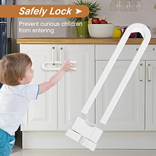 51WbONJajCL Mum & Cub 4 Pack Sliding Cabinet Locks and 4 Pack Child Safety Strap Locks Combo Set, Baby Proof Locks for Doors, Drawer, Cupboard, Refrigerator, with 10 Outlet Plug Covers    【Well Made & Adjustable】The baby-proof sliding cabinet locks are made from durable ABS material to prevent a break. And with up to 5 inches of cover spaces, these U-shaped locks wrap around handles or knobs to hold doors shut【Sturdy & Durable Adjustable Strap】These baby strap locks can fit on any surface and adjust to any shape to match a variety of configurations. Installation is tool-free as they include built-in high durable and long-lasting 3M adhesive【High-quality Plug Covers】The childproof outlet plug covers crafted with high-quality materials with electrical insulation properties. Prevent your kids from inserting their fingers into the slots and keeps kids away from the electric hazards【Widely Application Baby proof Kits】This complete baby proofing kit works with closets, cabinets, doors, toilet seats, etc. Tool-free installation, you can easily remove it with a hairdryer without any damage to your furniture at all, leaving no stains or marks