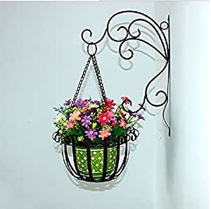 Dazone Home Decor Wall Mount Hanger Plant Container Indoor or Outdoor Use Metal Flower Pot Holder Basket