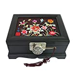 Embroidery Needlepoint Ten Peony Flower Design Jewelry Box Display Nacre Artian Handcrafted Jewellry Case