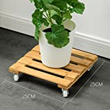 L;IAN Movable Bamboo Flower Rack Holders, Planters Square Plant Pot Stand with 4 Wheels Rolling Base Indoor Outdoor Plant Caddy with Wheels (Size : Small)
