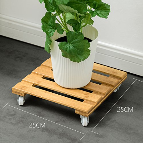 L;IAN Movable Bamboo Flower Rack Holders, Planters Square Plant Pot Stand with 4 Wheels Rolling Base Indoor Outdoor Plant Caddy with Wheels (Size : Small) by L;IAN
