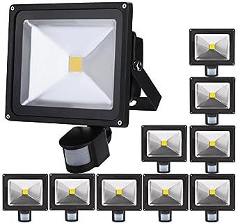 10pcs 30W Foco LED con Sensor Movimiento,ALPHA Foco Proyector con ...