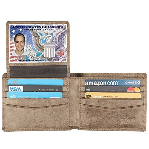 Wallet for Men-Genuine Leather RFID Blocking Bifold Stylish Wallet With 2 ID Window (Gold-Galaxy)