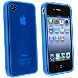 niceEshop Clear Blue TPU Rubber Skin Case Cover for iPhone 4 4S