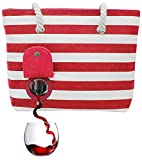 PortoVino Beach Tote (Red & White) - Beach Bag with Hidden, Insulated Compartment, Holds 2 bottles of Wine!