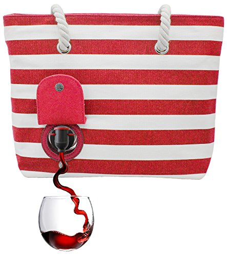 Beach Bag Red - PortoVino Beach Wine Tote (Red/White) - Beach Bag with Hidden, Insulated Compartment, Holds 2 bottles of Wine!