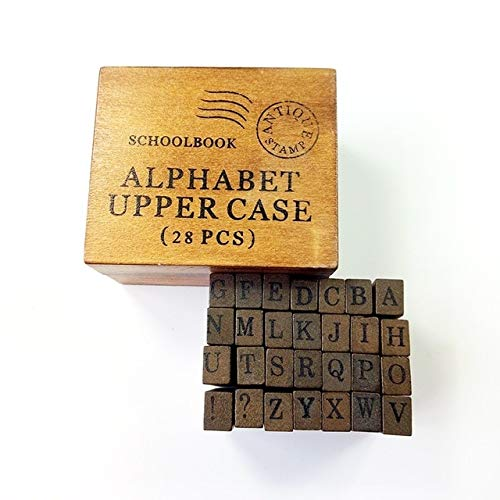 Dalab 28 Pcs/Set Vintage DIY Multi Purpose Decoration Alphabet Stamp Wood Rubber Clear Stamps Set Wooden Box 2 Style for Choose - (Color: Uppercase) Alphabet 28 Rubber Stamps